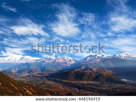 View of the Himalayan mountains from Sarangkot, Pokhara