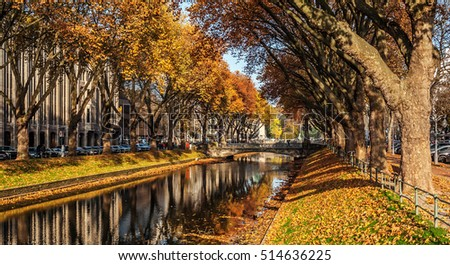 "View of the historic avenue ""Koenigsallee"" of Dusseldorf in Germany in the autumn"