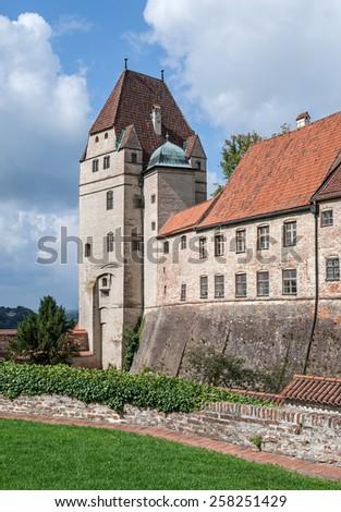"View of the historic castle ""Burg Trausnitz"" of Landshut near Munich in Bavaria - stock photo"
