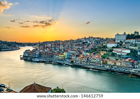 View of the historic city of Porto, Portugal during sunset - stock photo