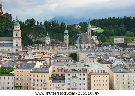 View of the historic city of Salzburg, Salzburger Land, Austria - stock photo