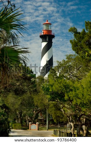 View of the Historic Lighthouse in St. Augustine, Florida - stock photo