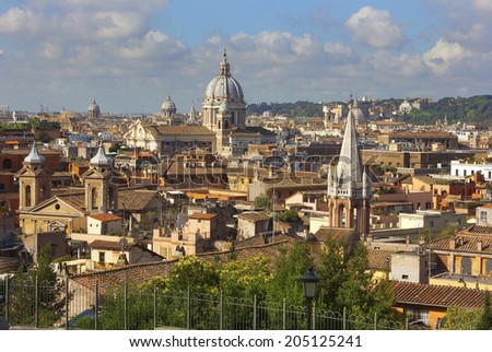 view of the historical center of Rome from the height of the Pincian Hill, Italy - stock photo