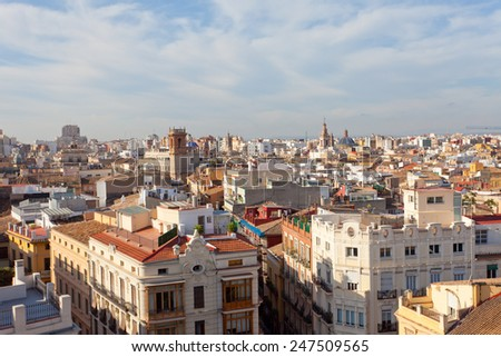 View of the historical center of Valencia from an observation deck of the Cathedral, Spain - stock photo