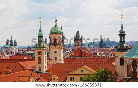View of the historical districts of Prague from an observation deck - stock photo