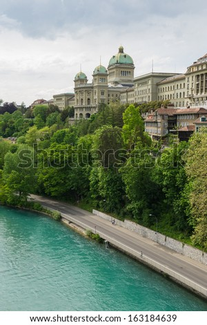 view of the historical part of Basel, the Rhine River, Switzerland - stock photo