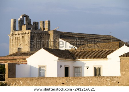 View of the historical part of Faro city, featuring the main Church of Se. - stock photo