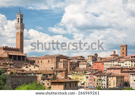 View of the historical part of the city of Siena in Tuscany - Italy - stock photo