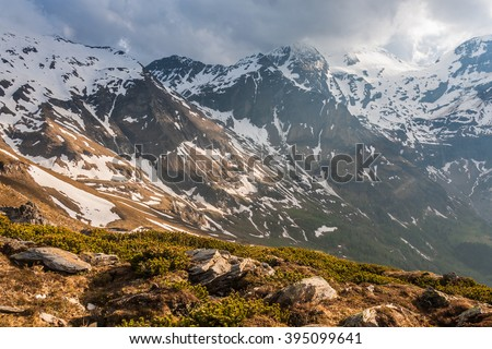 View of the Hochkoenig Mountains in the Austrian Alps. - stock photo