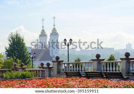 View of the Holy Voskresenskaya (Rynkovaya) church with Uspenskaya mountain, Vitebsk, Belarus - stock photo