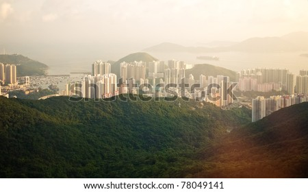 View of the Hong Kong from the mountain - stock photo