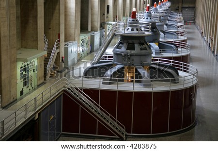 View of the Hoover Dam generators on the Arizona/Nevada border. - stock photo