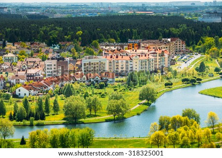 View of the house in a residential area in Minsk, Belarus - stock photo