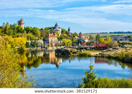 View of the house near the lake - stock photo