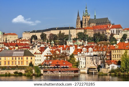 View of the Hradcany (Prague), Cathedral of St. Vitus. - stock photo