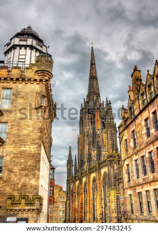 View of the Hub and Camera Obscura in Edinburgh - stock photo