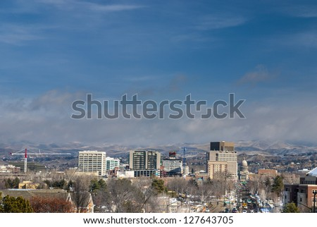 View of the Idaho Capital winter - stock photo