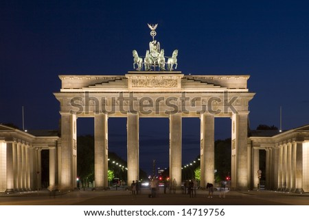 View of the illuminated Brandenburg Gate from the Eastern side