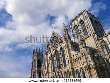 View of the imposing Minster, City of York, North Yorkshire, UK. - stock photo