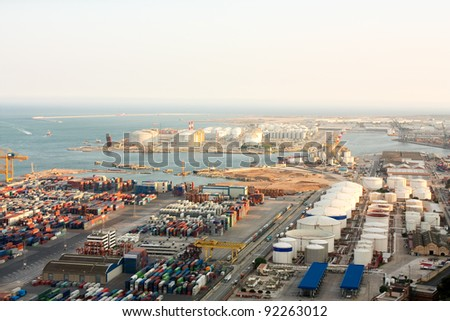 View of the industrial port of Barcelona from Montjuic Mountain. - stock photo
