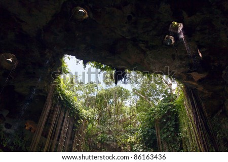 View of the inlet opening of the Ik-Kil cenote near Chichen Itza, Mexico - stock photo
