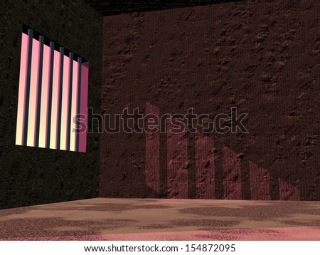 View of the inside in a prison jail with sunset light - stock photo