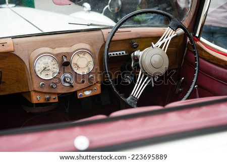 View of the interior of a vintage car - stock photo