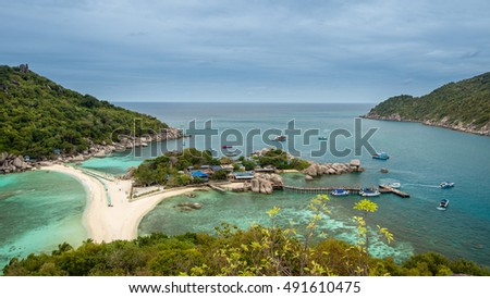 View of the island Nangyuan of the point of Koh Nang Yuan ,Thailand.Private island.
