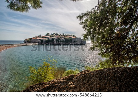 view of the island of Sveti Stefan in Montenegro