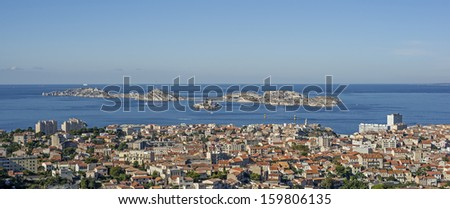"""View of the islands """"Frioul"""" and the ancient prison """"Chateau dIf"""" of Marseille in South France - stock photo"""
