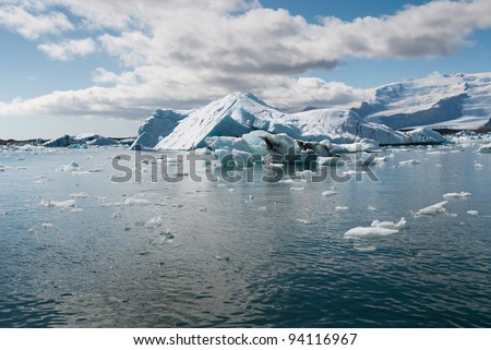 view of the Jokulsarlon lake in Iceland - stock photo