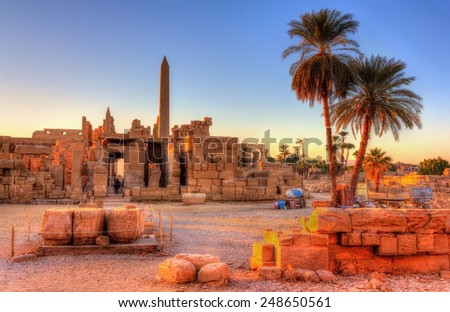View of the Karnak Temple Complex in Luxor - Egypt - stock photo