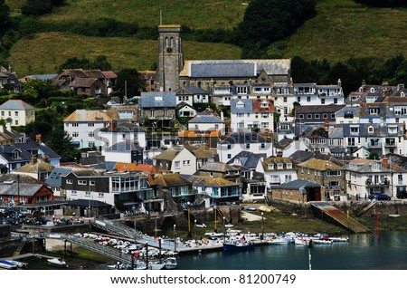 view of the kingsbridge estuary at salcombe harbour port and boatyards devon england uk - stock photo