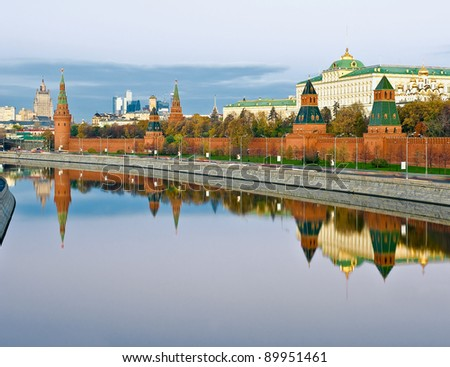 View of the Kremlin and Moscow river at sunrise - stock photo