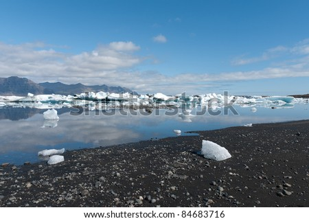 view of the lake in Iceland Jokulsarlon