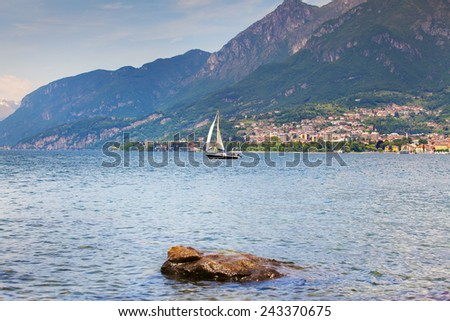 View of the Lake Lecco. Lecco, Italy, Europe. - stock photo