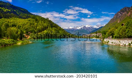 View of the lake near Villa Di Chiavenna, Alps, Italy. Geolocation 46.330965,9.499832