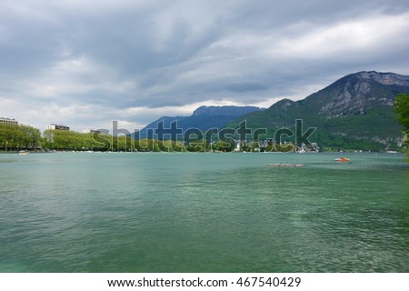 View of the lake of Annecy, capital of Haute Savoie province in France. Annecy is known to be called the French Venice