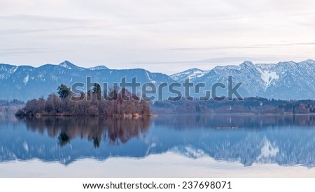 "View of the lake ""Staffelsee"" near Munich in Bavaria in the wintertime"