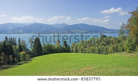 "View of the lake ""Tegernsee"" in the Alps of Bavaria"