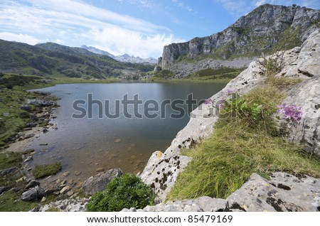 view of  the lakes of Covadonga, National Park Picos de Europa, Asturias, Spain