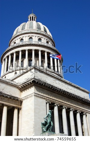 View of the landmark building - the Capitolio in Havana.  Home to Cuba's legislature.