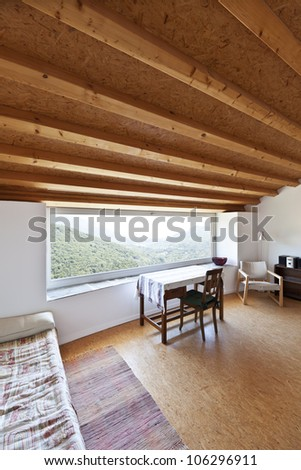 view of the large room, rural home interior - stock photo