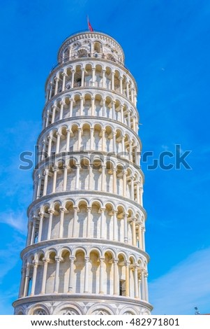 View of the leaning tower of Pisa in Italy