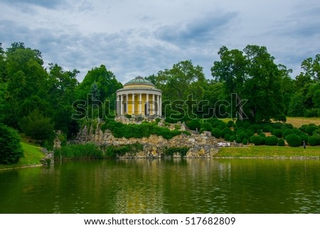 View of the leopoldina temple inside of the esterhazy palace park in Eisenstadt, Austria