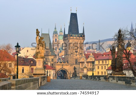 View of the Lesser Bridge Tower (Little Quarter Bridge Tower) of Charles Bridge (Karluv Most), Prague, the Czech Republic.