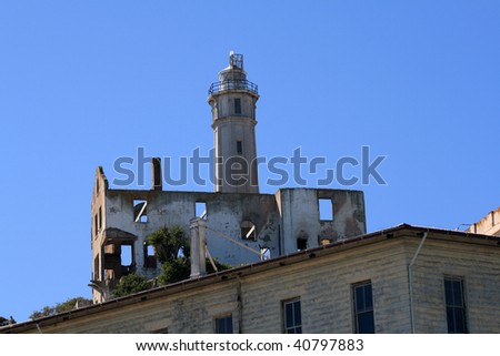 View of the lighthouse on Alcatraz Island on a beautiful day.  San Francisco, California. - stock photo