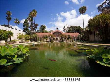View of the lily pond in front of the Botanical Building in San Diego's Balboa Park with fish - stock photo