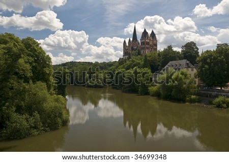 View of the Limburg Dome in Germany over the river - stock photo