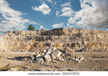 view of the limestone quarry - stock photo